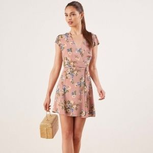 Reformation Floral Dawn Wrap Dress in Irene XS